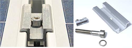 Europe Solar: Mittelklemme für Rahmenhöhe 40mm, Set mit Schraube & Nutenstein. Befestigungsset für Photovoltaik