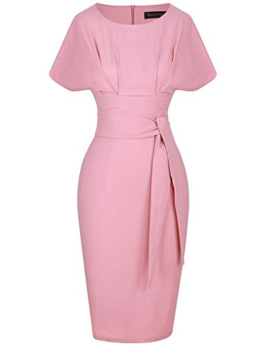 GownTown Women's 50s 60s Vintage Sexy Fitted Office Pencil Dress Pink