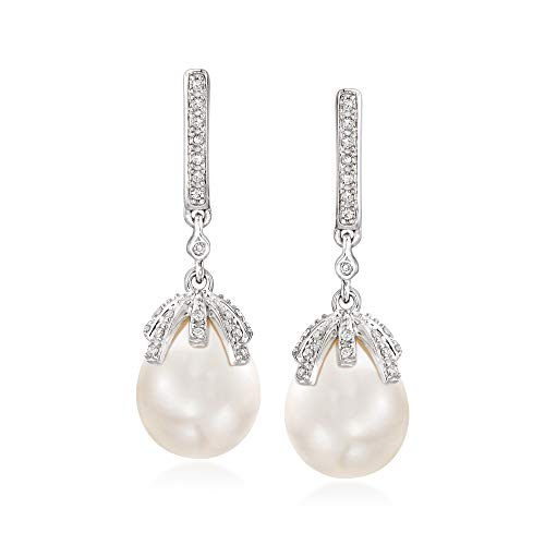 Ross-Simons 9-9.5mm Cultured Pearl and .12 ct. t.w. Diamond Drop Earrings in Sterling Silver
