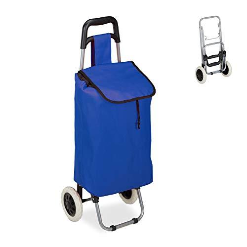Relaxdays Einkaufstrolley, klappbar, 25 L Einkaufstasche mit Rollen, bis 10kg belastbar, HBT 91 x 40 x 30 cm, dunkelblau