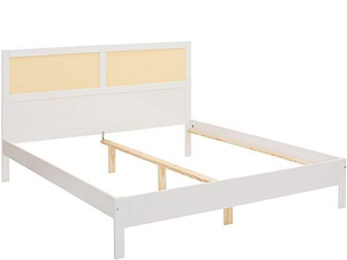 Loft24 A/S Bett Bettgestell Bettrahmen Holzbett Rattan Geflecht Doppelbett Landhausstil Schlafzimmer (weiß, 180 x 200 cm)