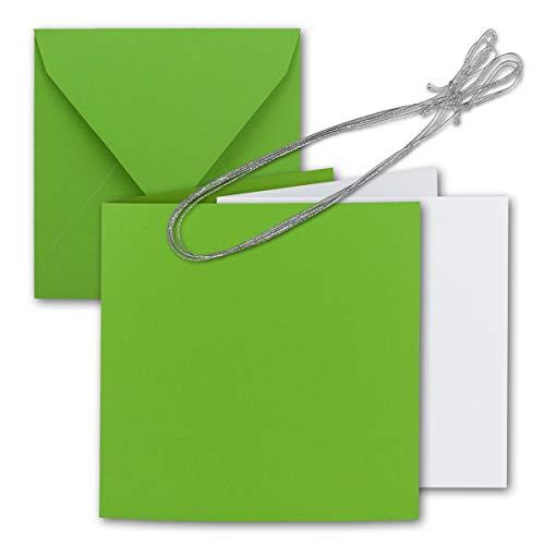 50x Quadratisches Falt-Karten-Set 15 x 15 cm - mit Brief-Umschlägen & Einlege-Blätter & Schmuck-Band - Hell-Grün - für goldene Einladungskarten, Hochzeit, Weihnachten - von Gustav NEUSER®