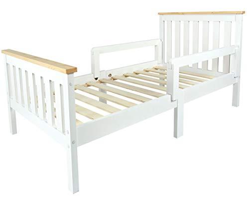 Leomark Individual Cama Infantil de Madera - MILANO PINE - con Somier, barra de seguridad, para niños, color blanco, moderno y elegante Mobiliario Pino, Espacio para dormir: 70x140 cm