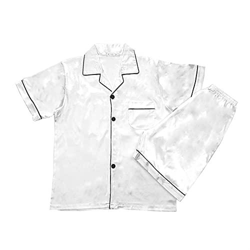 Pijamas de seda para hombres, pijamas de satén para hombre, pijamas cortas, paj, conjunto, ropa de dormir, ropa de dormir. (Color : White, Size : X-Large)