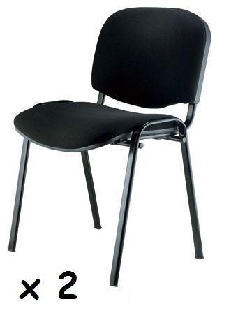 2x - Silla confidente para oficina - Silla tapizada color negro, ideal para oficinas, academias, autoescuelas. Permite apilar en tandas de 5 o 6 sillas.disponible en varios colores