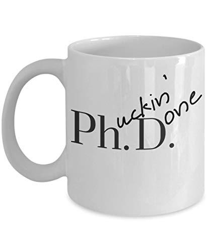 Doctorado Regalos de graduación Humor chistoso Tazas de café Phucking Hecho Taza de cerámica Regalo, Maldición Taza de café, Adornos de escritorio divertidos, Regalos de novedad, Regalos de mordaza de