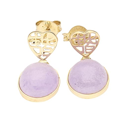 Pendientes de gota de jade morado de oro amarillo de 9 quilates para mujer (10 x 12 mm) | El regalo perfecto para una dama especial | Jollys Jewellers