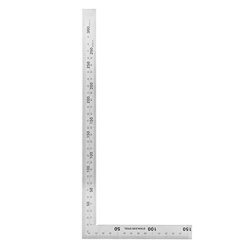 TOPINCN 直角定規 シルバー 曲尺 完全スコヤ スクエアルーラー 建築・鉄工用 90度 L形 測定工具 ゲージ ステンレス鋼 分度器 アングルルーラー 耐久性(300mm*150mm)