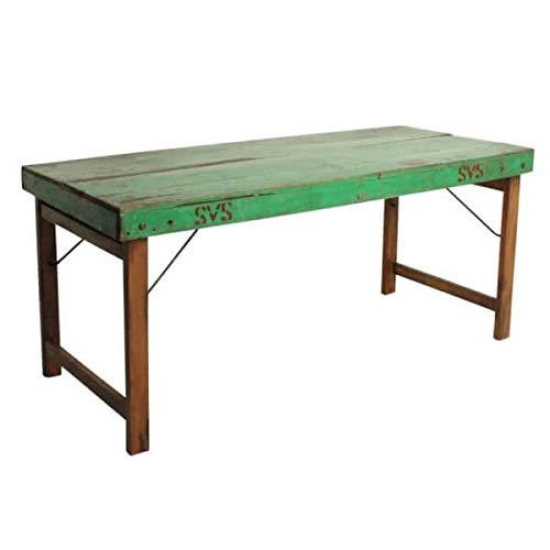 MATHI DESIGN Vintage - Table Pliante Bois Vert