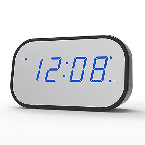 LWZ Espejo Reloj Despertador Digital Multifuncional Reloj Despertador silencioso electrónico Mini Reloj Creativo Cuadrado para Dormitorio