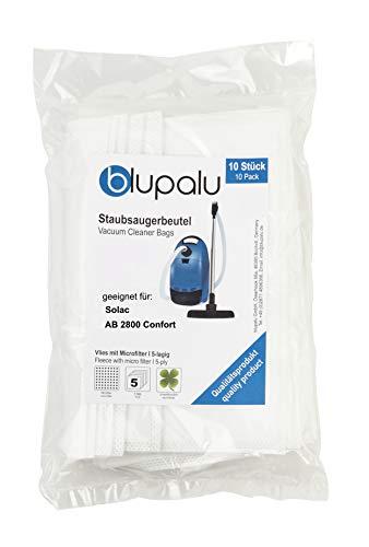 blupalu I Staubsaugerbeutel für Staubsauger Solac AB 2800 Confort I 10 Stück I mit Feinstaubfilter