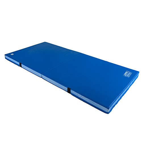 We Sell Mats 4 Inch Thick Bifolding Gymnastics Crash Landing Mat Pad, Safety for Tumbling, Back Handspring Training and Cheerleading, 4 ft x 8 ft, Blue