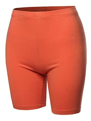 Basic Solid Cotton Mid Thigh High Rise Biker Bermuda Shorts Ash Copper 2XL