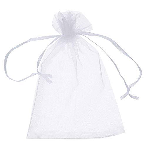 Ouinne 100 Piezas Bolsas de Organza, Organza Boda Blancas Favores de Fiesta de Boda y Envoltura de Joyas