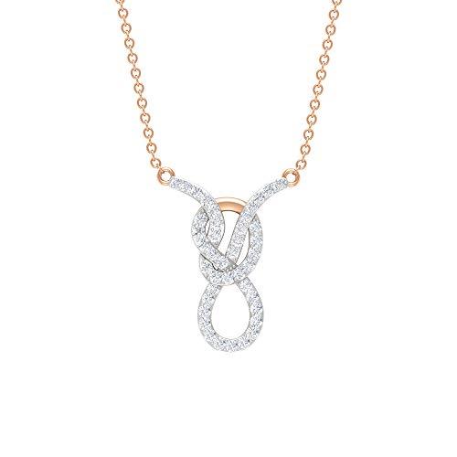 Collar de diamantes de Taurus Zodiac de 1/3 con nudo infinito (calidad AAA), Metal, Diamond,