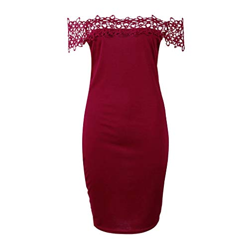 Sexy Dress for Women Off Shoulder Lace Trim Solid Hollow Out Slimming Bodycon Elegant Party Dresses (XXL, Red)