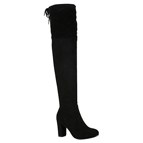 Modische Damen Stiefel Profilsohle Overknees Block Absatz Schuhe 150319 Schwarz Schleifen Autol 37 Flandell