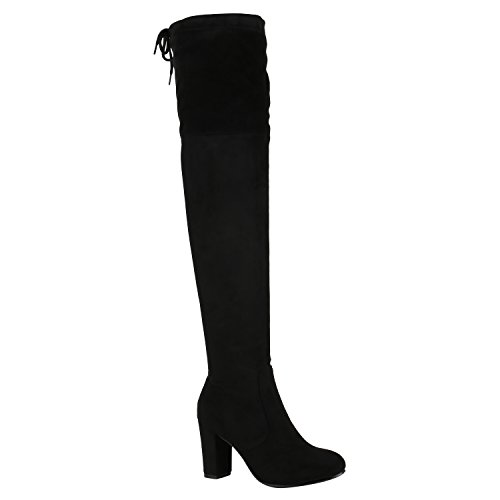 Modische Damen Stiefel Profilsohle Overknees Block Absatz Schuhe 150319 Schwarz Schleifen Autol 41 Flandell