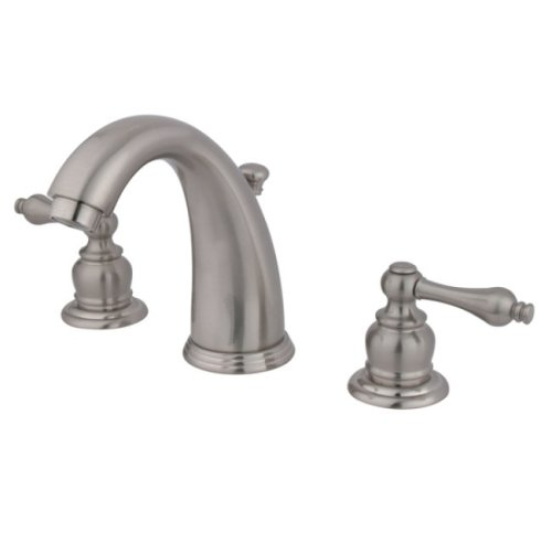 Kingston Brass KB988AL Victorian Widespread Lavatory Faucet with Metal lever handle, Satin Nickel by Kingston Brass