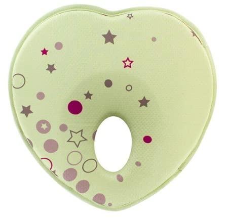 Almohada para bebé anti cabeza plana – Cojín para recién nacido, previene plagiocefalia, cabeza para cama y tumbona (verde)