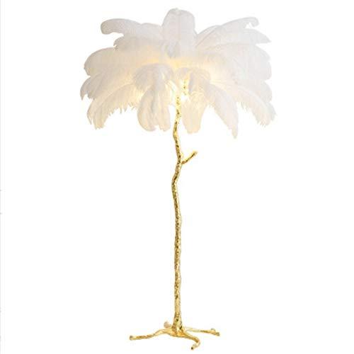 XUSHEN-HU Lámpara de pie con plumas de rama, de cobre puro, lámpara de escritorio, lámpara de plumas de avestruz, lámpara de pie para sala de estar, decoración moderna (pantalla de color: blanco)