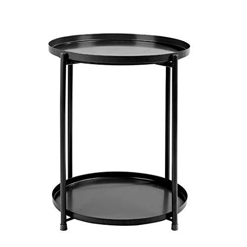 SZQ-Table Basse Décoratif Jardinière, Double Couche de Fer Petite Table Ronde Salon Hôtel Chambre Chevet Balcon Casual Table Basse Table de Sofa (Color : B, Size : 44 * 52CM)