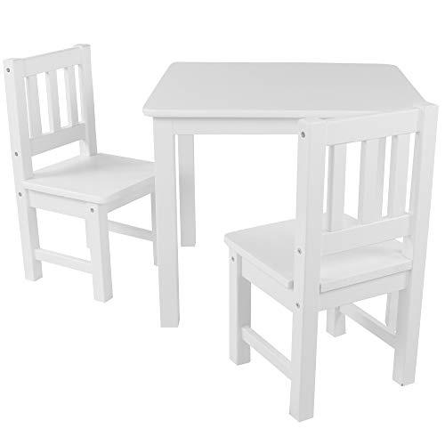 DILUMA Kindersitzgruppe 3-TLG - Kindertisch mit 2 Stühlen in Weiß - Kinderzimmer Möbel für Kleinkinder, Mädchen & Jungen - Kindertischgruppe mit abgerundeten Ecken und Kanten