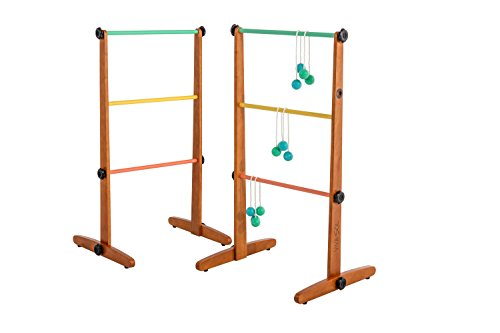 Viva Sol Premium Outdoor Ladderball Game Includes Two Ladder Target and Six Golf Ball Bolas, Tan-Brown, 3 X 29 X 12 inches