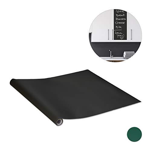Relaxdays Tafelfolie, selbstklebend, Kreidefolie für Kühlschrank, Wand, DIY Kindertafel zum Kleben, 200 x 45 cm, schwarz, 1 Stück