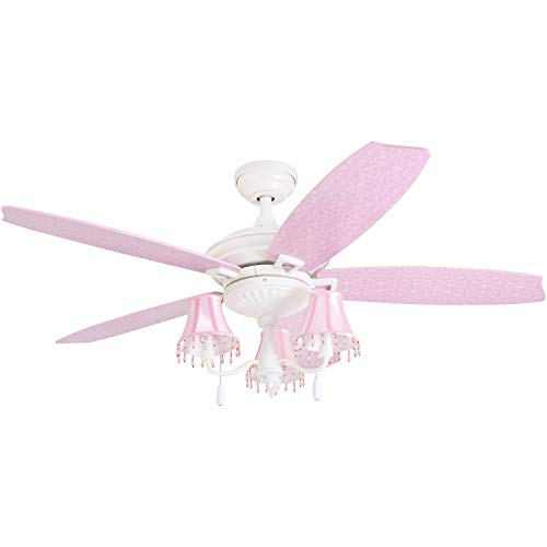 "Prominence Home 41111-01 Addy 48"" Pink Ceiling, Chandelier Lamp Shades, Dusty Rose/Blushing Glow Fan Blades, Classic White"