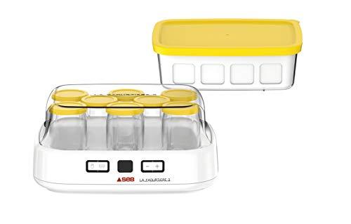SEB Joghurtbereiter 2 mit LCD-Display, 2 automatische Programme, Joghurt, 8 Käsegefäße, 1 l, inkl. Rezeptbuch YG500210