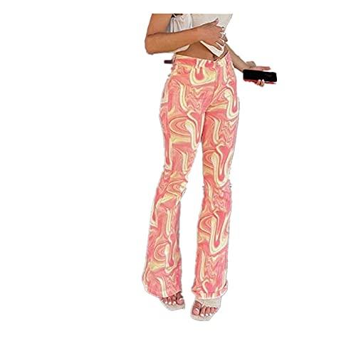 Celandine e-Girl Corbata Tinte Cintura Mujer Flaco Pantalones Largos Pantalones Capris