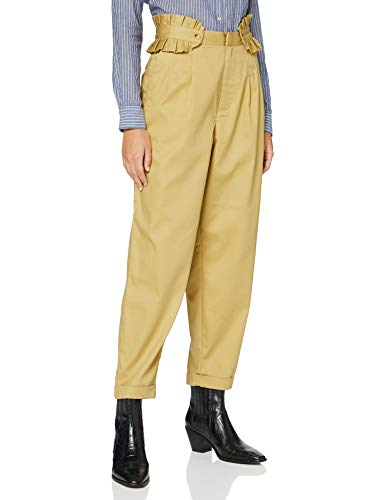 Scotch & Soda Maison Womens Clean twill chino with detachable pleated belt Casual Pants, Sand-0137, 28W/ 30L