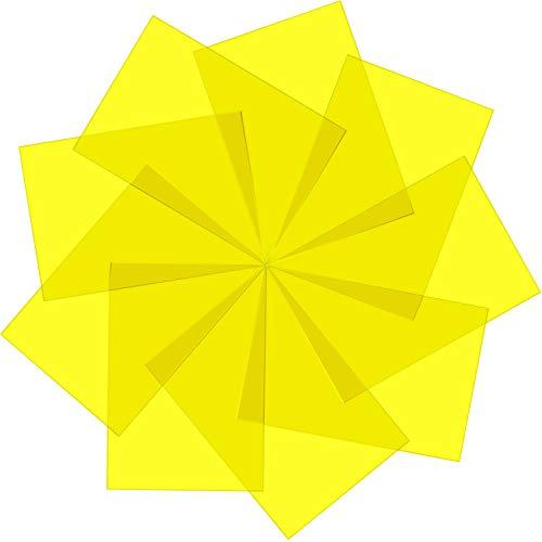 Pangda 9 Stück Gelfilter Farbige Overlays Korrekturgel-Lichtfilter Transparente Farbfolie Kunststoff-Folien, 30 x 21 cm (Gelb)