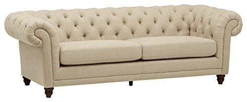 """Amazon Brand – Stone & Beam Bradbury Chesterfield Tufted Sofa Couch, 92.9""""W, Hemp"""