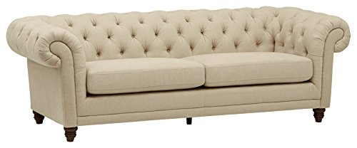 Amazon Brand – Stone & Beam Bradbury Chesterfield Tufted Sofa Couch, 92.9'W, Hemp