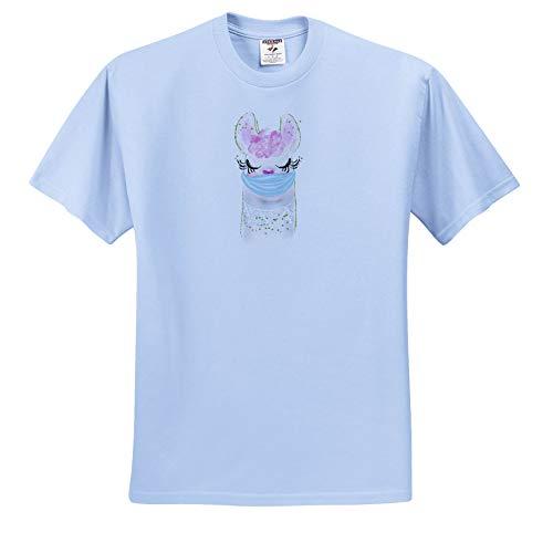 3dRose AMansMall Coronavirus Pandemic - Purple Hair Llama Face Mask Watercolor Art 3DRAM - Adult Light-Blue-T-Shirt 3XL (ts_342304_55)