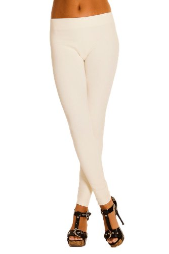 Premium Winter Leggings for Women Cotton Blend Seamless French Terry Fleece Pants (Large, Ivory)
