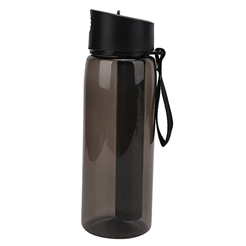 Eulbevoli Botella de Filtro de Agua portátil para Exteriores, portátil: Correa y mosquetón Botella purificadora de Agua de 650 ml sin Productos químicos para Senderismo Mochilero, Camping,(Negro)