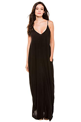 Elan International Women's Spaghetti Strap Bubble Maxi Dress Swim Cover Up Black S