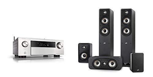 Denon AVR-X4500H 9.2 AV-Receiver WLAN Dolby Atmos Auro-3D Ready HEOS, Silber + Signature E Series Lautsprecher Set 2 für Heimkino und Musik, schwarz