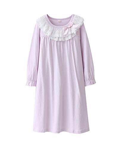DianShaoA Prinzessin Spitze Bogen Dekoration Nachthemden Für Mädchen Langarm Kinder Schlafanzüge Für 3-12 Jahre Nackte Pink 120