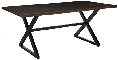 Christopher Knight Home Rolando Outdoor Aluminum Dining Table with Steel Frame, Brown / Black