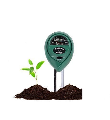 FayTun Medidor de Suelo, Humedad del Suelo 3 en 1 Medidor de PH Medidor de Luz/Ácido y Álcali/Humedad para Plantas de Suelo/Flor/Césped en Interior o Exterior