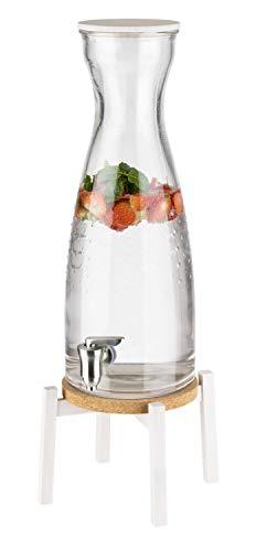 APS Fresh White-drankdispenser – premium glazen pot met edeltapkraan – van stevig glas incl. houten voet, houten deksel, kurk onderzetter en anti-slip voetjes
