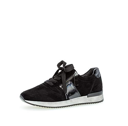 Gabor Damen Sneaker, Frauen Low-Top Sneaker,Best Fitting,Reißverschluss,Optifit- Wechselfußbett, Low-top Freizeit Halbschuh,schwarz,38 EU / 5 UK