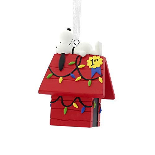 Hallmark Christmas Ornaments, Peanuts Snoopy on Decorated Dog House Ornament