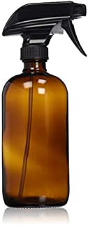 Empty Amber Glass Spray Bottle - Large 16 oz Refillable Container is Great for Essential Oils, Homemade Cleaning Products, Aromatherapy - Durable Black Trigger Sprayer w/Mist & Stream Setting