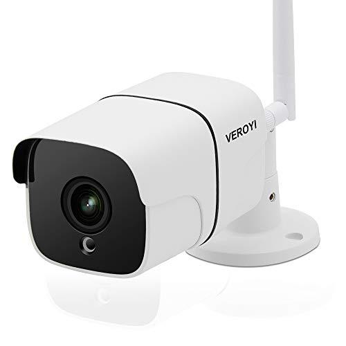Cámara de Seguridad para Exteriores Veroyi, cámara de vigilancia WiFi 1080P con detección de Movimiento de Audio de visión Nocturna de 2 vías