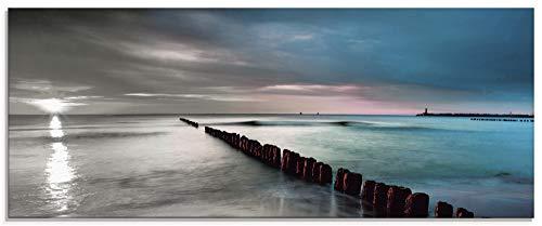 Artland Glasbilder Wandbild Glas Bild einteilig 125x50 cm Querformat Natur Strand Meer Ostsee Sonnenuntergang Himmel Wolken Landschaft S6CB